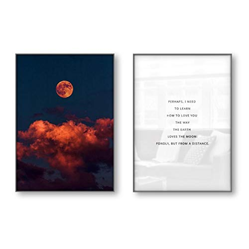 juou Leinwanddruck Liebe Zitate Geschichte Geschichte Gedicht Literatur Motivierende Zitate Poster Wandbilder Wandkunst Mond 40 x 60 cm x2 Kein Rahmen