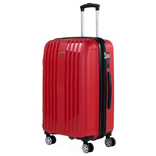 ITACA - Maleta Mediana expandible para Viaje rígida con 4 Ruedas Dobles Fabricada en Polipropileno con Cerradura TSA, Ligeras y s 760260, Color Rojo