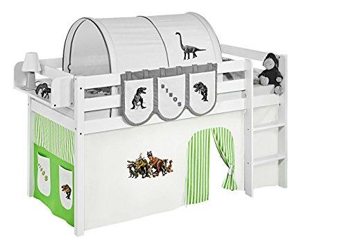 Lilokids Vorhang Dinos Grün Beige - für Hochbett, Spielbett und Etagenbett