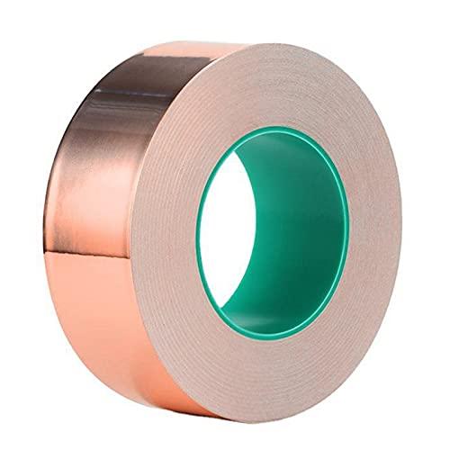 xueren Cinta de lámina de cobre adhesiva fuerte Hoja de lámina de cobre Adhesivo conductor de un lado para escudo EMI (1 pulgadas x 66 pies)