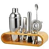 Barbieya 2-10-teiliges Edelstahl-Shaker-Set, großer Getränkemixer, Bambus-Ständer, perfektes...