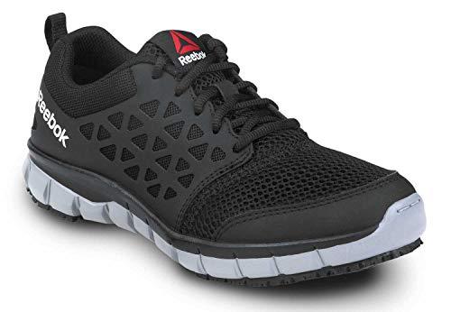 Reebok Work Sublite Cushion Work, Black/Gray, Women's, Slip Resistant Athletic Work Shoe (7.0 W)