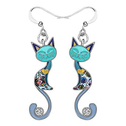 Divertido temperamento colorido gatito gato cuelga pendientes personalidad gato pendientes moda joyería animal