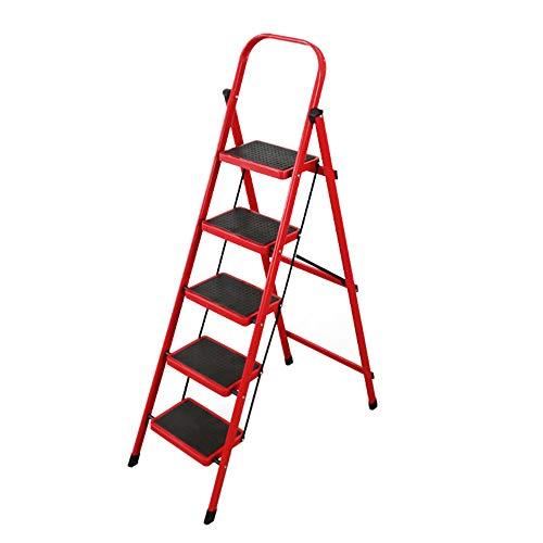XHSSF trittleiter Stahlleiter Home Klappleiter mehrzweckleiter stehleiter Hebender Handlauf Rutschfestes Trittbrettlager 150KG-rot_5 Schritte