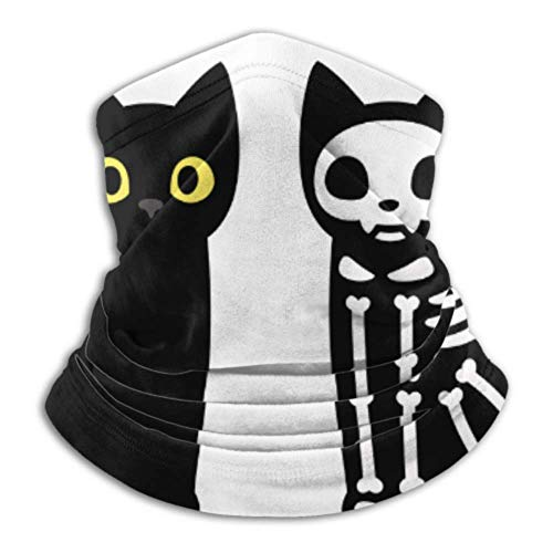 Fleece Neck Warmer ,multifunctional Cartoon Black Cat Drawing Skeleton Cute Scarf,a Full Face Mask Or Hat, Neck Gaiter, Neck Cap ,ski Mask, Half Mas