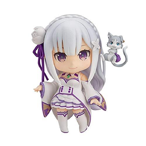 zzdgfc 10Cm Emilia Re Zero Q Version Action FigureRe:LifeIn A Different World from Zero Toy, Japanese Anime Figures Action Model Boxed Figure Toy