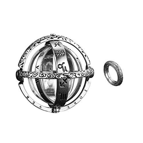 Anillos vintage, anillos de bolas astronómicos, estrella del universo, innovadores collares de anillos 2 en 1 para mujeres y hombres