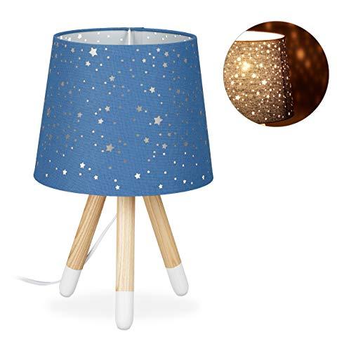 Relaxdays tafellamp kinderkamer, bedlampje voor jongens, E14, ronde stoffen kap met sterren, 40 cm hoog, blauw