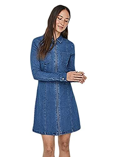 Noisy May NOS DE NMLISA Zip Dress SU00MB BG Noos Vestido, Azul (Azul Medium Blue Denim), L para Mujer