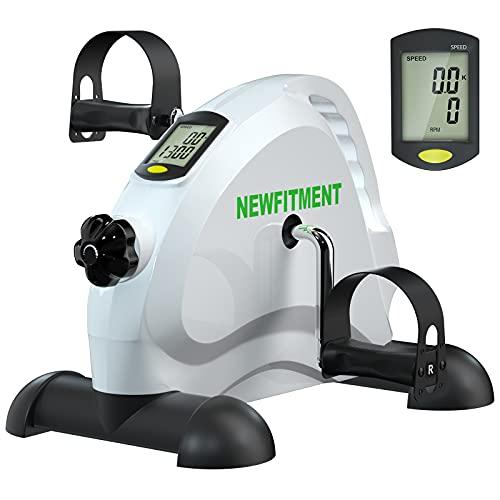 NEWFITMENT Under Desk Bike Pedal Exerciser, Mini Exercise Bike for Seniors Elderly Arm & Leg Exercise Recovery Therapy, Desk Pedal Bike for Home & Office Workout (WHITE)