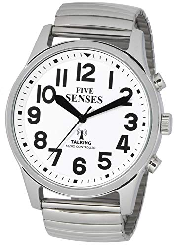 English Atomic Jumbo Size (43mm) Talking Watch with Loud Alarm Clock for Visually impaired, Elderly or Blind by 5 Senses 1522A