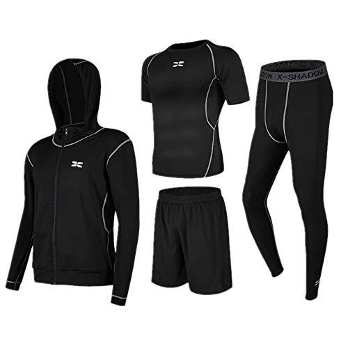 Trainingskleidung für Herren Kurzarm T-Shirt Shorts 4 Stück Herren Trainingsbekleidung mit Outwear Kompressionshose eingestellt für Radfahren Laufen Gym Fitness ( Color : Black , Size : XL )