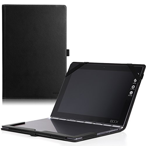 MoKo Lenovo YOGA Book Case, Ultra Compact Slim Folding Build-in Stand Cover Case for Lenovo YOGA Book YB1-X90F, YB1-X91F 10.1 Inch 2-in-1 Tablet/Laptop, Black