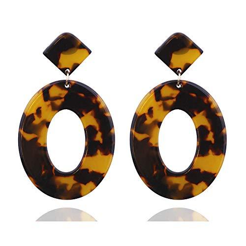 XCWXM Pendientes Redondos de Gota Redonda de acrílico Pendientes Colgantes de Moda Damas Damas Regalos de Fiesta personalizados-EK3394 Marrón
