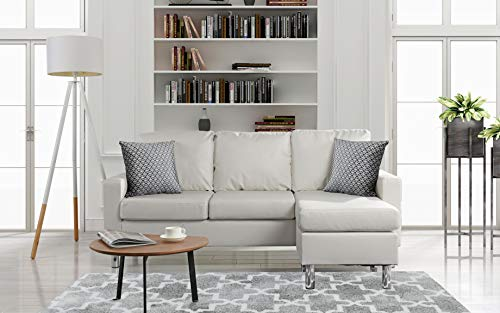 Divano Roma Furniture Modern Sectional, White