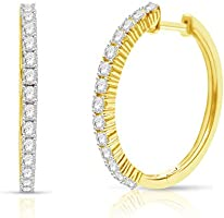 NATALIA DRAKE 4 Prong Diamond Hoop Earrings for Women in Sterling Silver (Color I-J/Clarity I3)