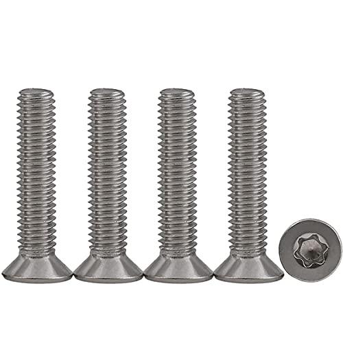 10 piezas M6x35 Tornillos para metales Torx Tornillos madera inoxidable Tornillo Mecánico de Cabeza Avellanada Accionamiento estándar Rosca Completa,para equipos de maquinaria y muebles para el hogar