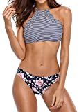 beautyin Womens Stripe High Neck Bikini Set...
