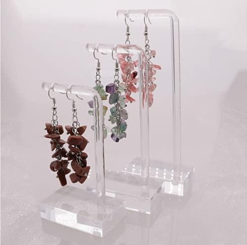 N\C 3 piezas de acrílico arete árbol, soporte de joyería, soporte de torre de árbol, soporte de collar transparente en forma de T para almacenamiento de aretes de joyería