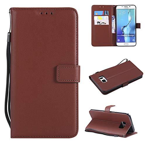 Snow Color Galaxy S6 Edge Hülle, Premium Leder Tasche Flip Wallet Case [Standfunktion] [Kartenfächern] PU-Leder Schutzhülle Brieftasche Handyhülle für Samsung Galaxy S6Edge/G925F - COMS020415 Kaffee