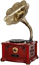 Wooden Vinyl Record Player Vintage Classic Retro Phonograph Gramophone 33/45 RPM Turntable with Speakers Players Stereo System Control Records Vinyl Albums 3.5mm Aux-in/USB/FM Radio/Bluetooth 4.2