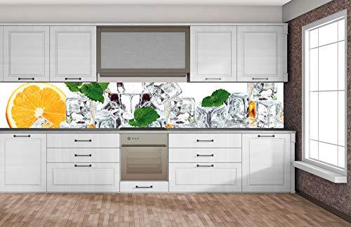 DIMEX LINE Küchenrückwand Folie selbstklebend Zitrone UND EIS 350 x 60 cm | Klebefolie - Dekofolie - Spritzschutz für Küche | Premium QUALITÄT