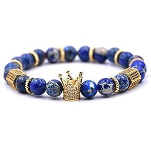 USUASI 1Pc Charm Women&Men Crown Beaded Bracelet Handmade Bead Lava Stone Silver Skull Head 8mm (Blue)