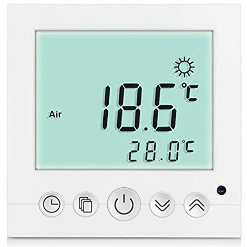 Conpush Digital Thermostat Raumthermostat Fußbodenheizung Wandheizung Unterputz Regler für elektrische Fußboden-Heizung LED weiß mit Sensorkabel