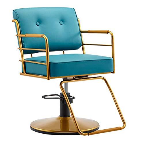 Sdesign Silla de Peluquero reclinable hidráulica de la Mano del Artista 360 Grados Giratorio sillas de Peluquero Equipo de peluquería, Azul Claro (Color : Blue)
