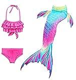 J26 Disfraz de sirena para niña, cosplay, traje de baño de 3 piezas, traje de baño con escamas de pez, color rosa, 140