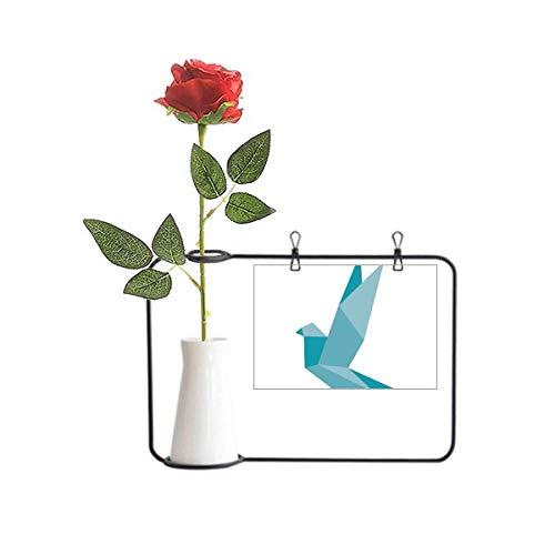 Beauty Gift Origami Abstracto Grenn Pigeon Pattern Artificial Rose Flower Colgando Jarrones Decoración Botella