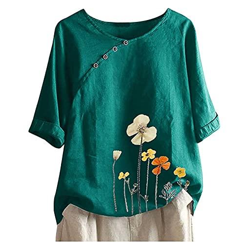 Camisetas Pintadas A Mano, Camisetas De Tirantes Mujer, Camisas Estampadas Mujer, Camisetas Anchas Mujer, Camiseta De Manga Larga con Estampado De Flores Y Botones De Talla Grande para Mujer