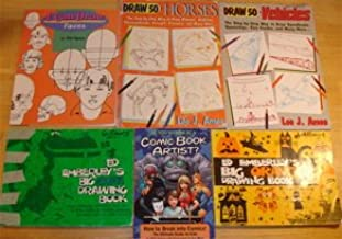 Set of 6 How to Drawings books: 50 Vehicles, 50 Horses, Faces, Comic Book Artist, Big Green and Big Orange Drawing Books