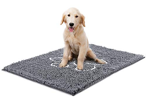 YOH Rug Chenille Doormat Super Absorbent Dog Paw Grey Rug 36x24 inch Bathroom Mat Non-Skid Door Mat Machine Washable Inside & Outdoor Area Rug