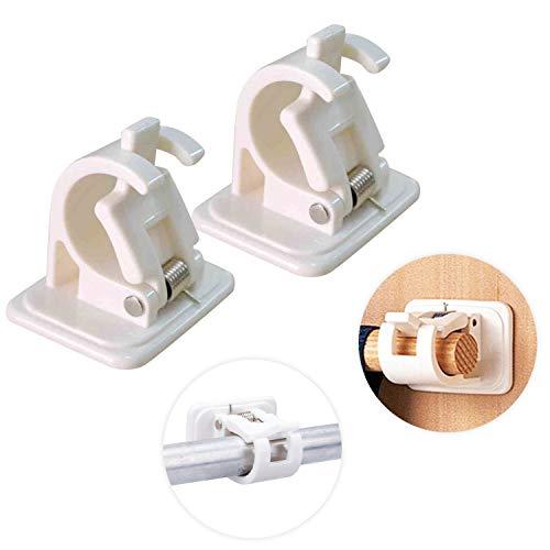 2 soportes de plástico para barra de cortina, barra de soporte autoadhesiva, para baño, sala de sauna, sin taladrar, asas de barra, carpetas de fijación de toallas, barras de cortina blancas.