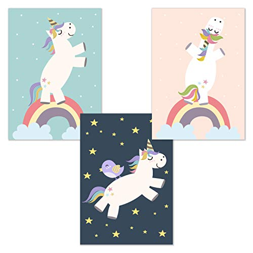 kizibi Juego de 3 Unicornio DIN A4 Póster para habitación Infantil y habitación de bebé, póster Decorativo para niñas, Unicornios, Cuadro de habitación Infantil, Cuadro sin Marco de Fotos