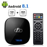 Android 8.1 TV Box, A95X F1 Smart Android 8.1 Box Amlogic S905W CPU Quad-Core Cortex-A53 1GB RAM 8GB ROM Compatible con 2.4GHz WiFi 3D 4K HDMI 2.0 100M LAN Ethernet