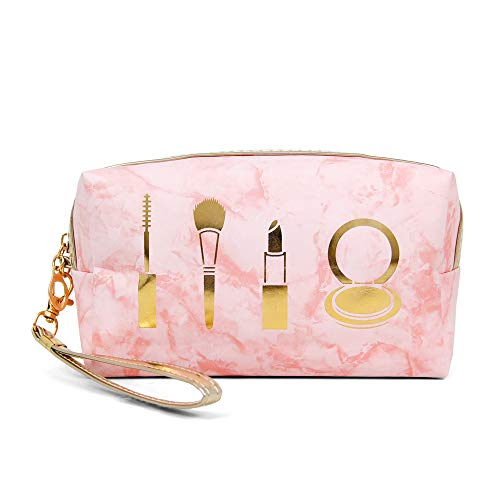 Me Plus Portable Makeup Case Cosmetic Bag for Women Small Pouch Travel Organizer Purse Wristlet With Zipper (Marble Makeup - Pink)