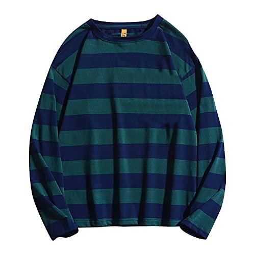 Camiseta deportiva de manga larga para hombre, para correr, gimnasio, cuello redondo, a rayas, resistente y de secado rápido, ropa informal para hombre, verde, XL