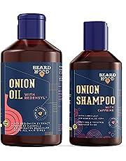 Beardhood Red Onion Hair Oil & Shampoo Combo with Redensyl & Caffeine For Hairfall Control (Oil + Shampoo)(250+200)