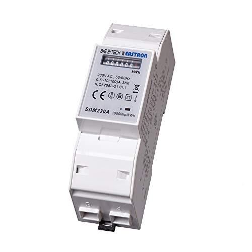 B+G E-Tech SDM230A - 1 Phasen Wechselstromzähler Stromzähler für DIN Hutschiene mit analogem Rollenzählwerk