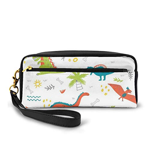 Cute Dinosaur Doodle Leather Luggage Tags Personalized Extra Address Cards With Adjustable Strap