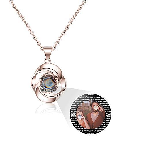 hjsadgasd Collana con Nome in Argento 925 Personalizzata per Donna 100 Lingue Ti Amo Collana con Memoria Il miglior Regalo per lei