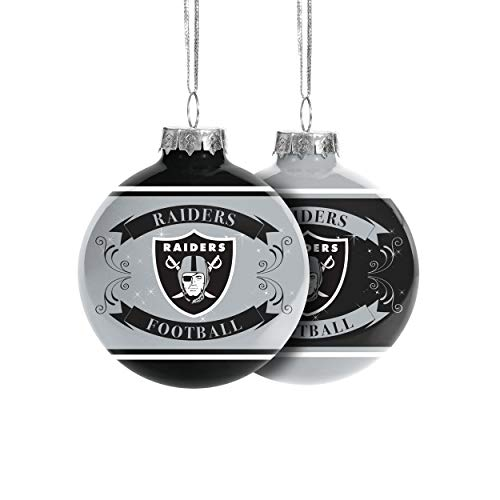 FOCO Oakland Raiders NFL 2019 Glass Ball Ornament - 2 Pack, Team Color (RBONF19SET2)