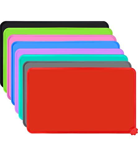 Joytale Silikon Futternapf Unterlage, rutschfeste Hundenapf Matte für Hund und Katze, Wasserdicht,47 x 30cm,Rot