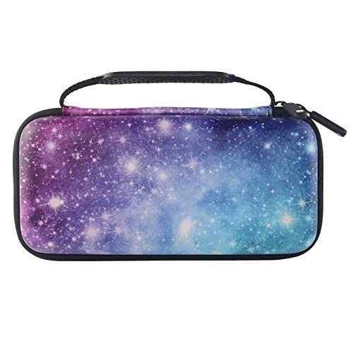 Comfyable Carrying Hard Case for Nintendo Switch with 10 Game Slots, Portable Travel Pouch Protective Waterproof Cover with Pocket for Accessories, Galaxy