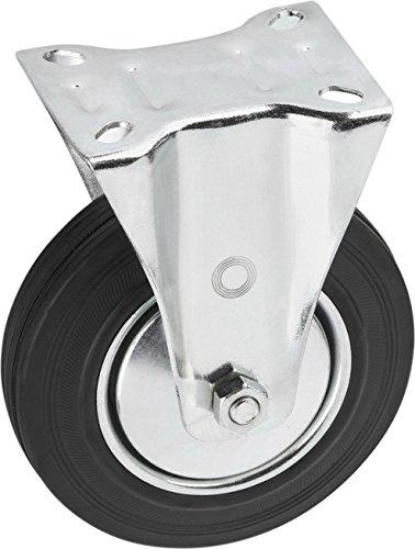 Metafranc Bockrolle Ø 200 mm - 140 x 110 mm Platte - Vollgummi-Rad - Weiche Lauffläche - Rollenlager - 205 kg Tragkraft / Transportrolle / Möbelrolle / Schwerlastrolle / 803070