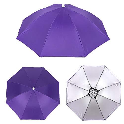 ENticerowts Sombrilla de cabeza, plegable al aire libre, antilluvia, sombra, cabeza adulta, paraguas de pesca, gorro de pesca, color morado duradero