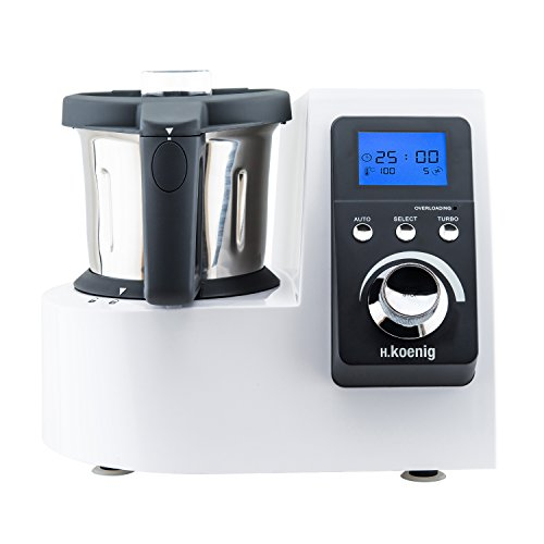 H.Koenig HKM1032 Küchenmaschine mit Kochfunktion / Temperatur von 0 bis 120 °C / Edelstahlschüssel 2,5 L / Spülmaschinenfest / 1300 W Kochleistung