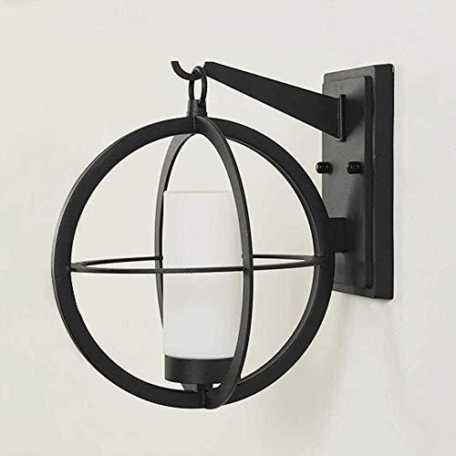 Lámpara de Pared con Iluminación Decorativa Negro moderna simplicidad lámpara de pared Hierro Metal lámpara de pared, persiana de cristal a prueba de agua creativo Globo pared de luz de la linterna de